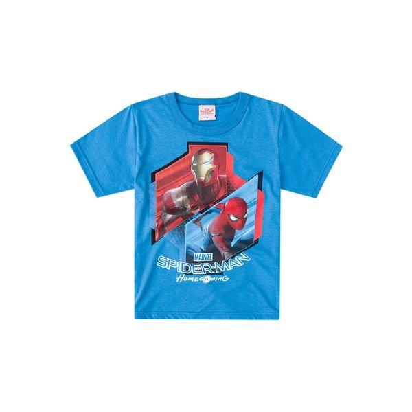 f868ae0423ab2 Camiseta Manga Curta Infantil Menino Homem-Aranha Azul - Brandili ...