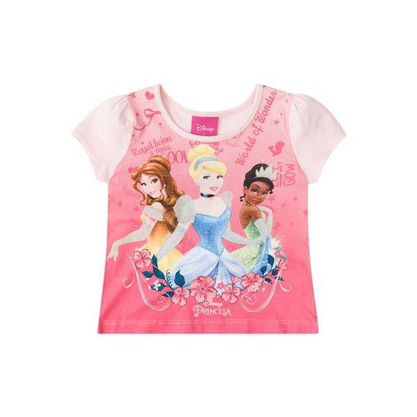 1b2974a0666ee0 Blusa Infantil Menina Princesas Rosa - Brandili