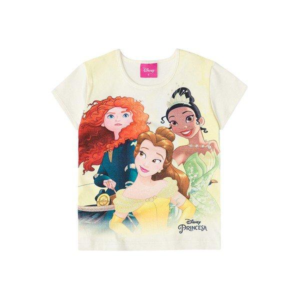 85553706fb94da Blusa Manga Curta Infantil Menina Princesas Off White - Brandili
