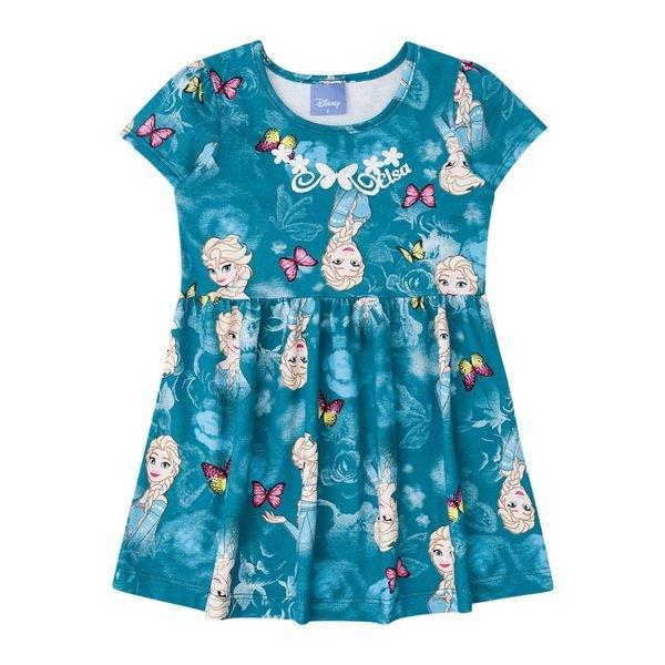 Vestido Manga Curta Infantil Menina Frozen Azul Brandili