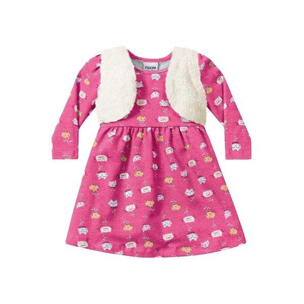 386034de332f Vestido Manga Longa Bebê Menina Rosa - Fakini | Revenda Infantil Atacado