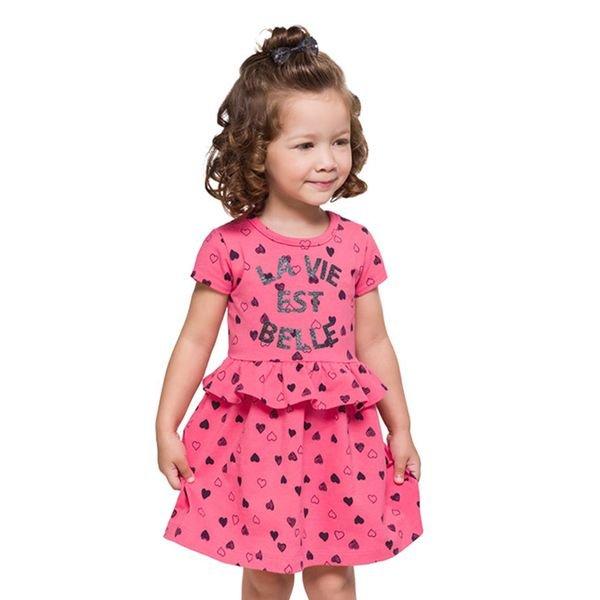 9857c490a9 Vestido Manga Curta Infantil Menina Rosa - Brandili
