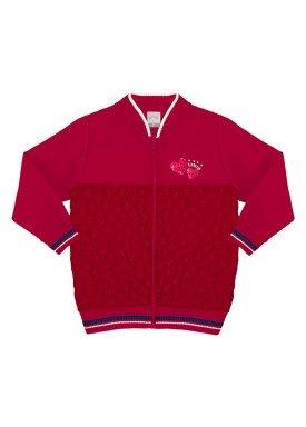 jaqueta moletom infantil menina alakazoo vermelho 60877