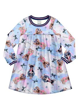 vestido manga longa infantil menina azul alakazoo 60964