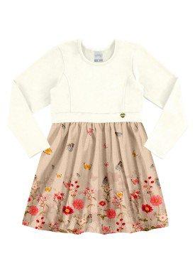 vestido manga longa infantil menina offwhite alakazoo 60970