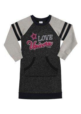 vestido manga longa infantil menina preto alakazoo 60934