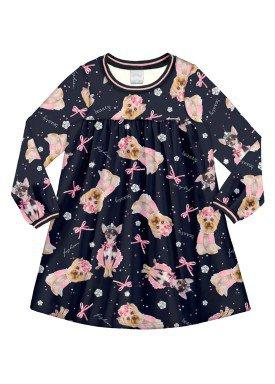 vestido manga longa infantil menina preto alakazoo 60964