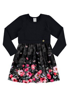 vestido manga longa infantil menina preto alakazoo 60970