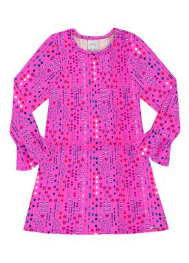 vestido manga longa infantil menina rosa alakazoo 60955