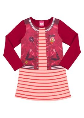 vestido manga longa infantil menina rosa alakazoo 69325