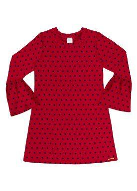 vestido manga longa infantil menina vermelho alakazoo 60963