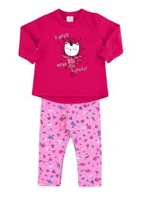 conjunto moletom bebe menina rosa alakazoo 60855