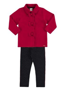 conjunto manga longa infantil menina vermelho alakazoo 60902