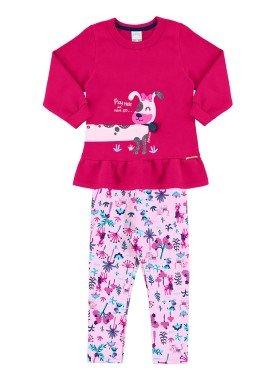 conjunto moletom infantil menina rosa alakazoo 60886