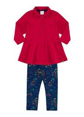 conjunto moletom infantil menina vermelho alakazoo 60890