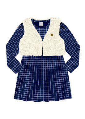 conjunto vestido infantil menina marinho alakazoo 60938