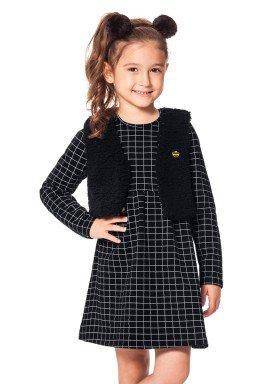 conjunto vestido infantil menina preto alakazoo 60938 1