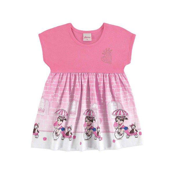 vestido bebe menina rosa alenice 40903