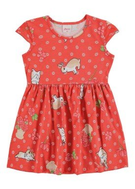 vestido infantil menina laranja alenice 44211