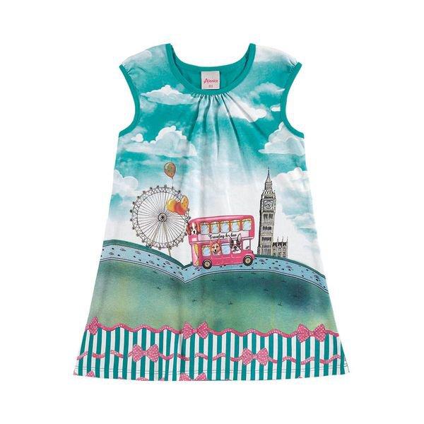 vestido infantil menina verde alenice 44213
