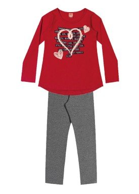 conjunto manga longa infantil menina love vermelho elian 251304 1