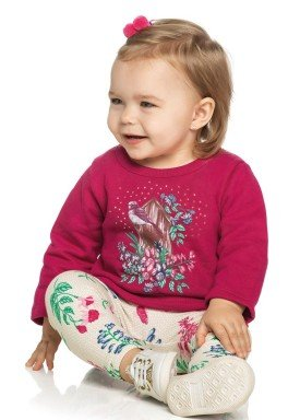 conjunto moletom bebe menina bird pink elian 21966 4