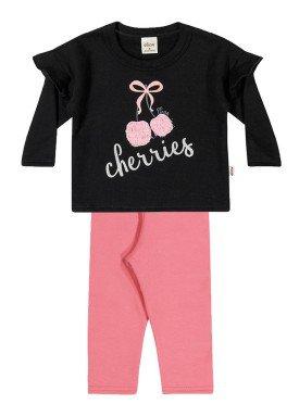 conjunto moletom bebe menina cherries preto elian 21975 1
