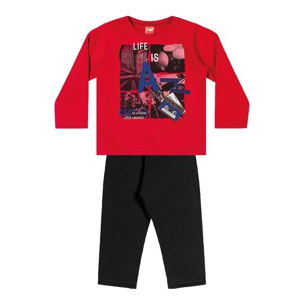 conjunto moletom infantil menino mixtape vermelho elian 22986 1
