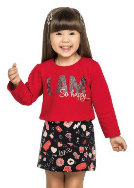 conjunto moletom vestido infantil menina happy preto elian 231313 1