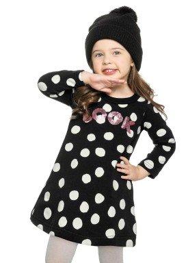 vestido molecotton infantil menina look preto elian 231318 2