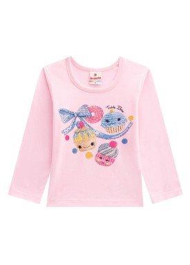 blusa manga longa infantil menina cupcakes rosa brandili 53460