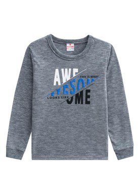 camiseta manga longa infantil menino awesome mescla brandili 53522