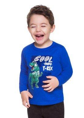 camiseta manga longa infantil menino trex azul brandili 53505 2
