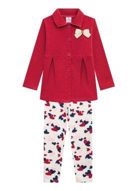 conjunto casaco moletom infantil menina vermelho brandili 53498 1