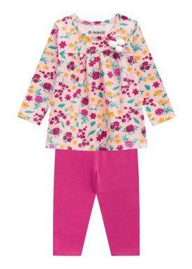 conjunto manga longa bebe menina floral pessego brandili 53601 1