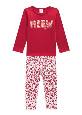 conjunto manga longa infantil menina meow vermelho brandili 53470 1
