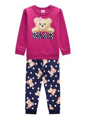 conjunto moletom infantil menina bear rosa brandili 53474 1