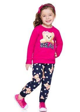 conjunto moletom infantil menina bear rosa brandili 53474 4