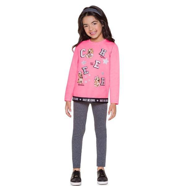 conjunto moletom infantil menina becool rosa brandili 53494 4