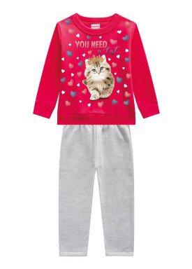 conjunto moletom infantil menina cat vermelho brandili 53642 1