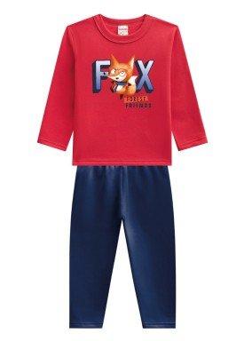 conjunto moletom infantil menino fox vermelho brandili 53654 1