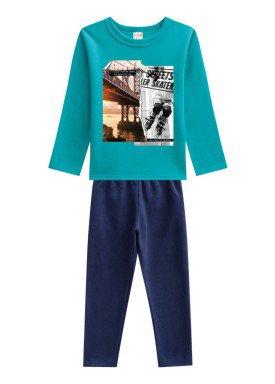 conjunto moletom infantil menino skater verde brandili 53672 1