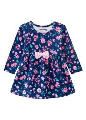 vestido manga longa bebe menina floral marinho brandili 53598