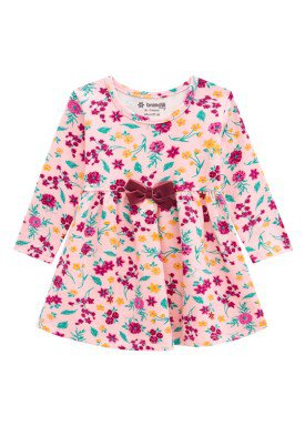 vestido manga longa bebe menina floral pessego brandili 53598