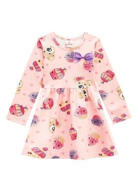 vestido manga longa infantil menina cupcakes pessego brandili 53465 1