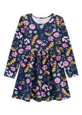 vestido manga longa infantil menina floral marinho brandili 53466 1