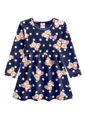 vestido manga longa infantil menina ursinho marinho brandili 53610 1