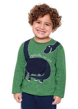 camiseta manga longa infantil menino dinossauro verde fakini 1210 2