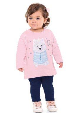 conjunto moletom bebe menina hello rosa fakini 1100 2