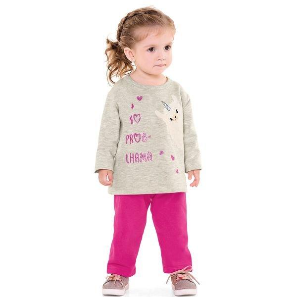 conjunto moletom bebe menina lhama mescla fakini 1102 2